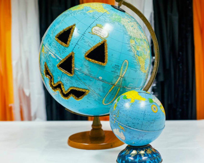 Use a globe to decorate as a pumpkin and make it unique!