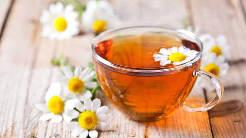 Chamomile tea is great to reduce anxiety and help you sleep better too!