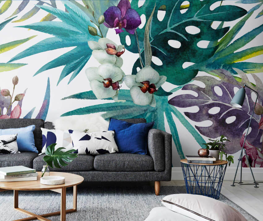 A tropical wallpaper is perfect for the living room.