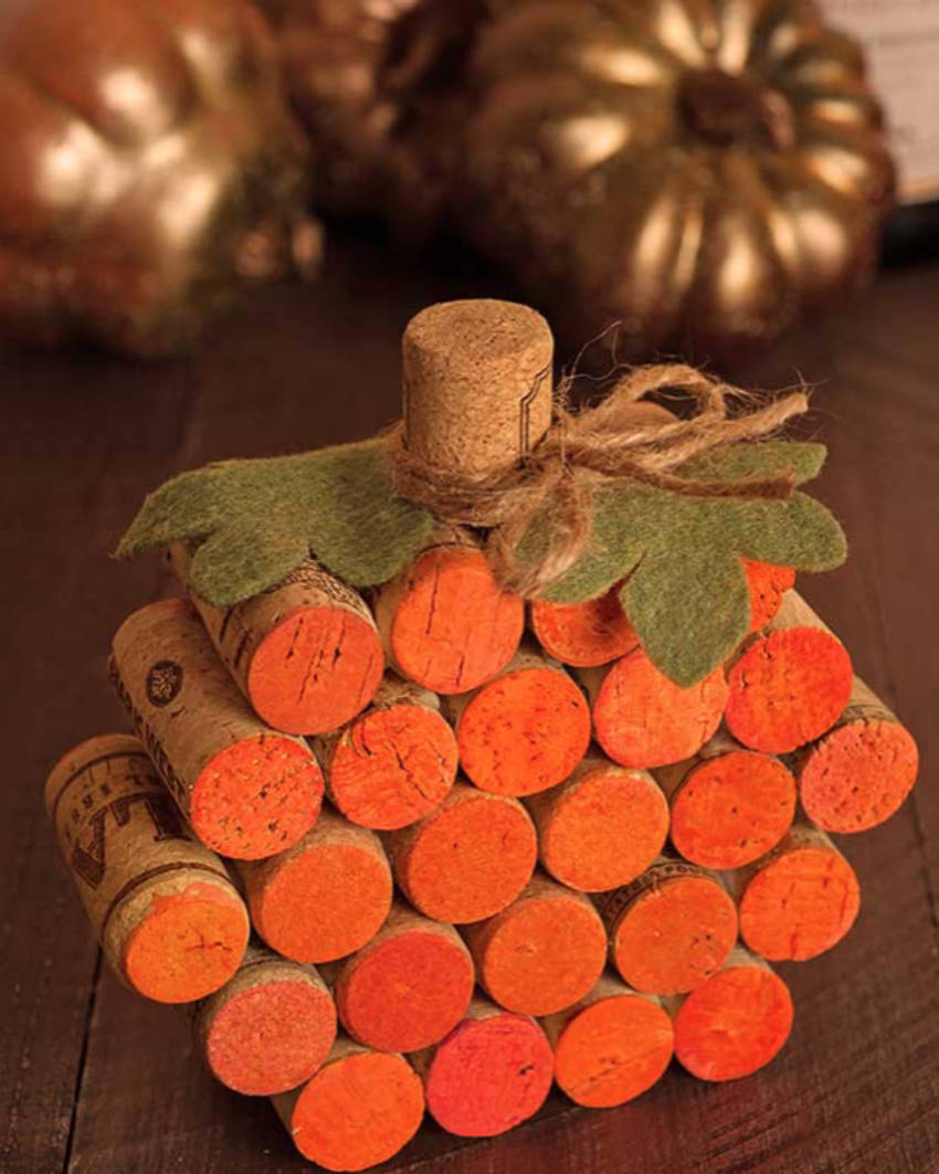 A beautiful and easy cork pumpkin!