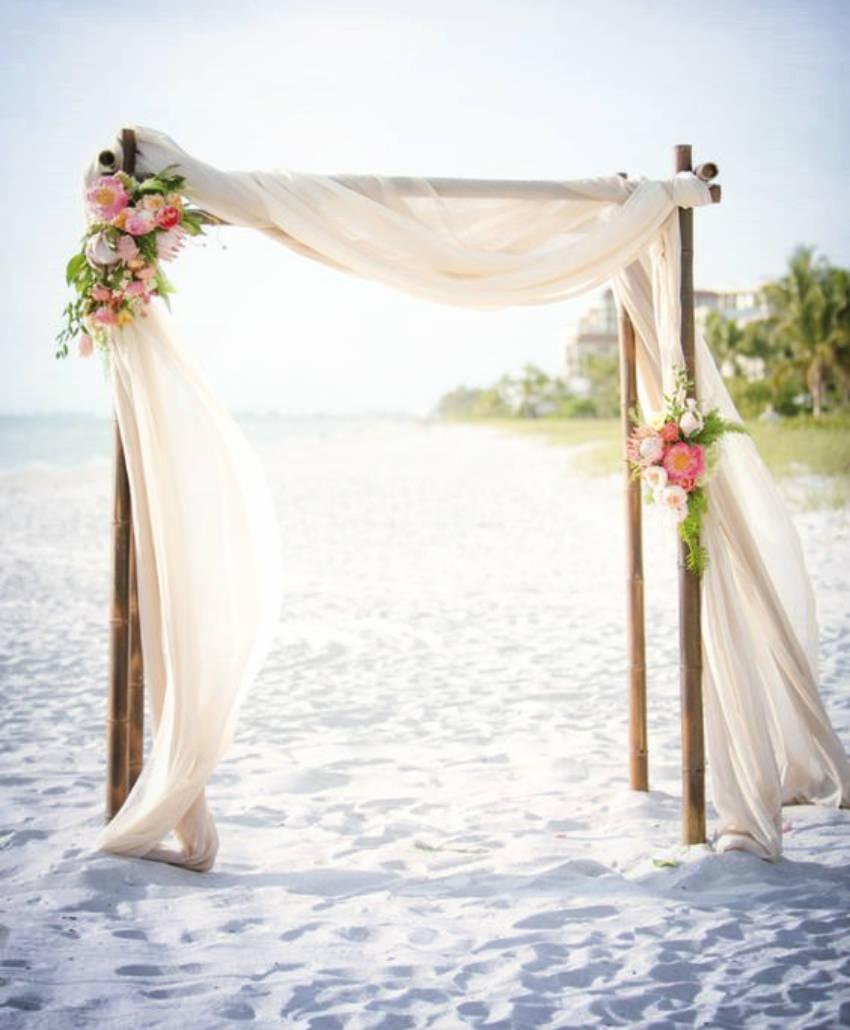 A DIY wedding arch for the beach.