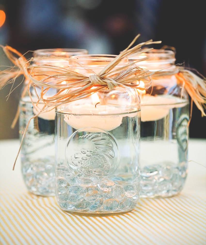 DIY Mason Jar Floating Centerpieces