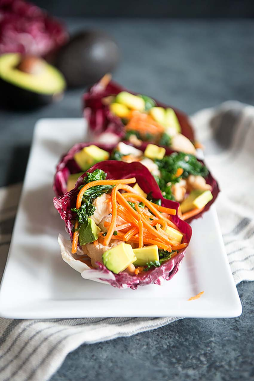 Healthy Veggie Avocado Lettuce Cups - Christmas Eve Dinner