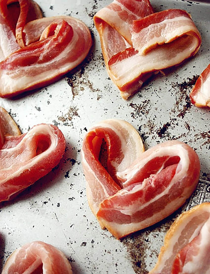 Bacon hearts are a great way to express your love.
