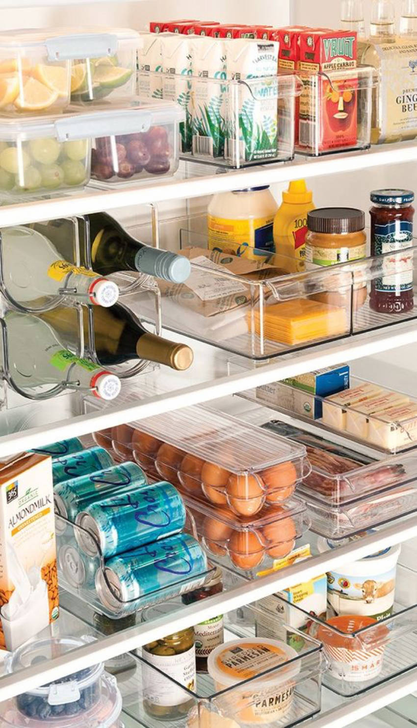 Clear bins make it easy to spot and organize everything in your fridge.