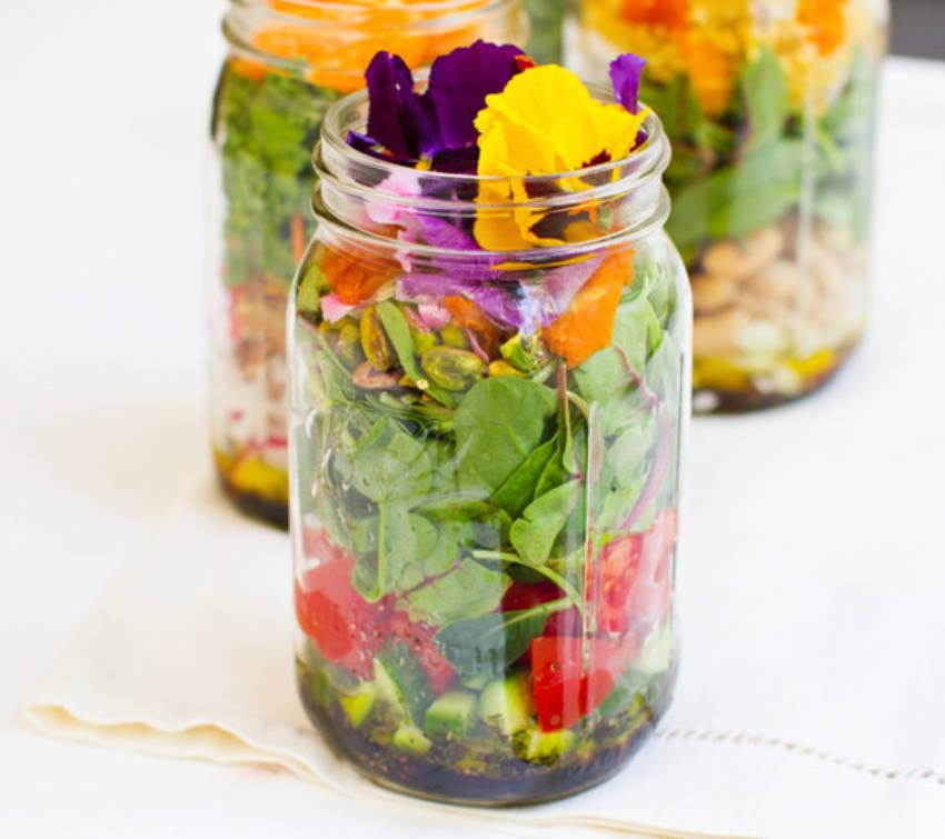 Mason jars can help you keep salads fresh for weeks.