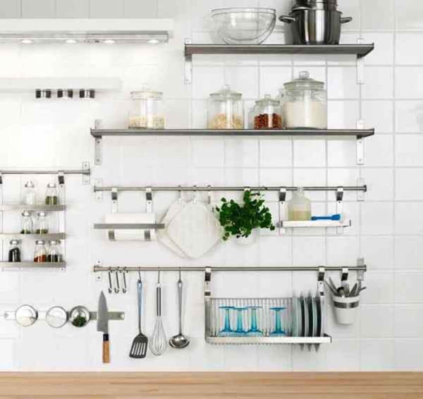 Hanging storage makes the kitchen a lot more practical.