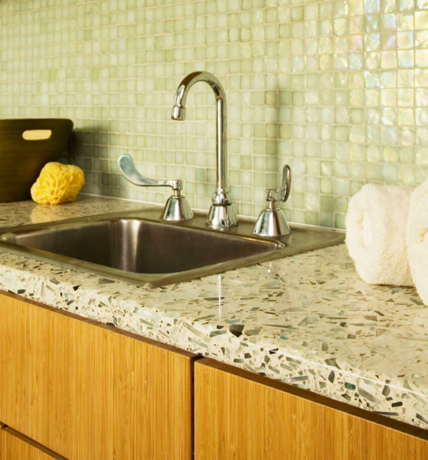 Recycled glass is the most common type.