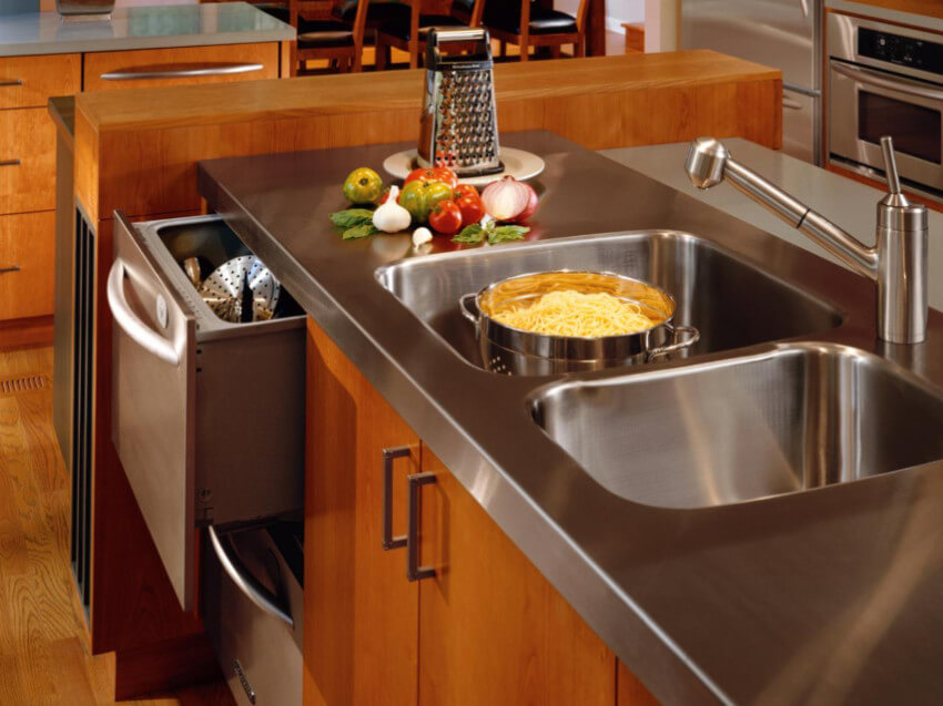 Stainless steel is the easiest material to clean and keep bacterias away.