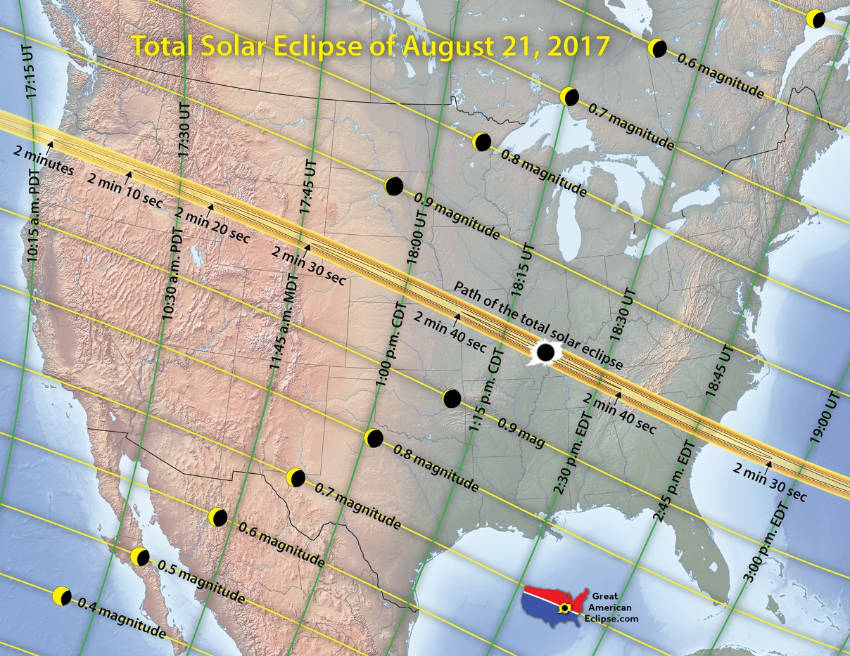 The totality path is 70 miles wide.