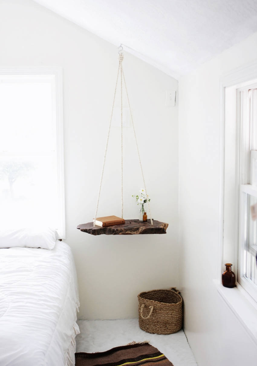 A hanging bedside table is actually very easy to do.