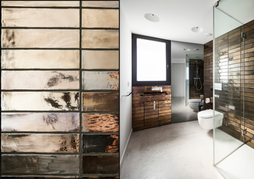 Metallic tiles are super trendy this year.