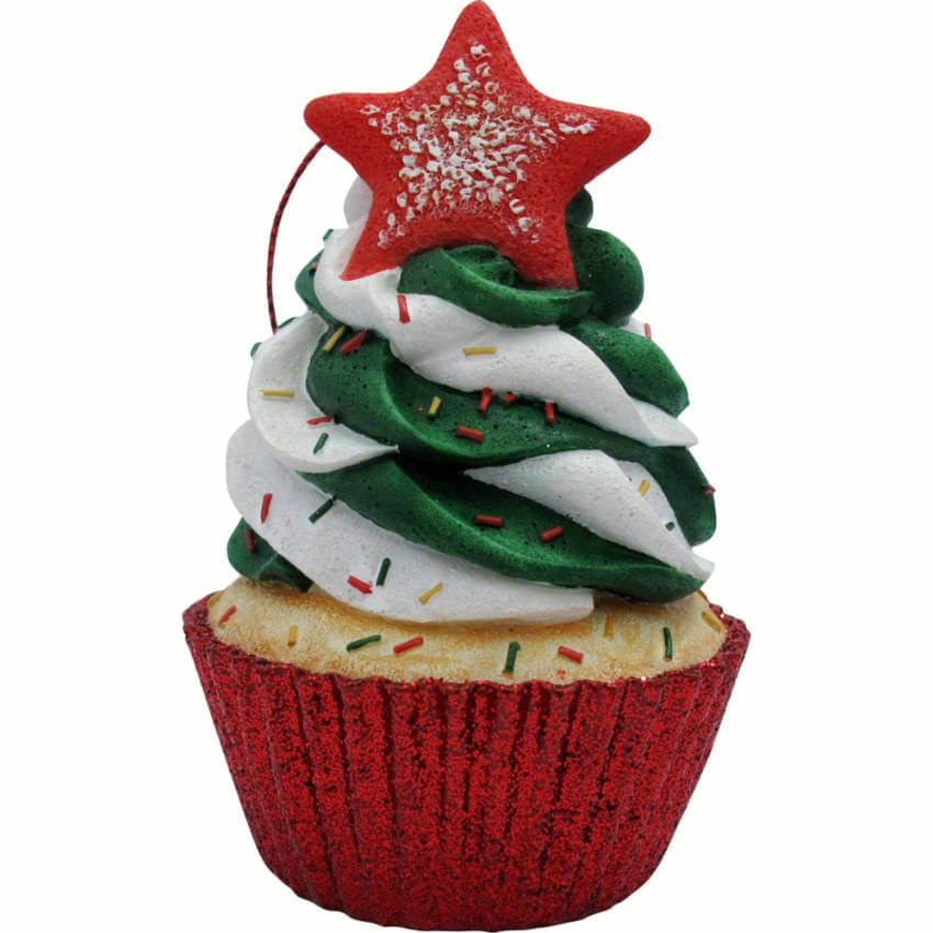 Festive cupcake ornament.
