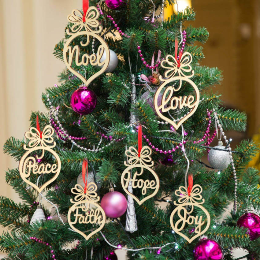 Wood words ornaments.