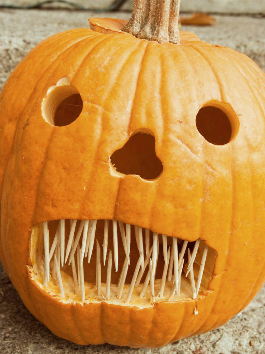 Add toothpicks to your Jack o' Lantern's mouth to make it extra scary!