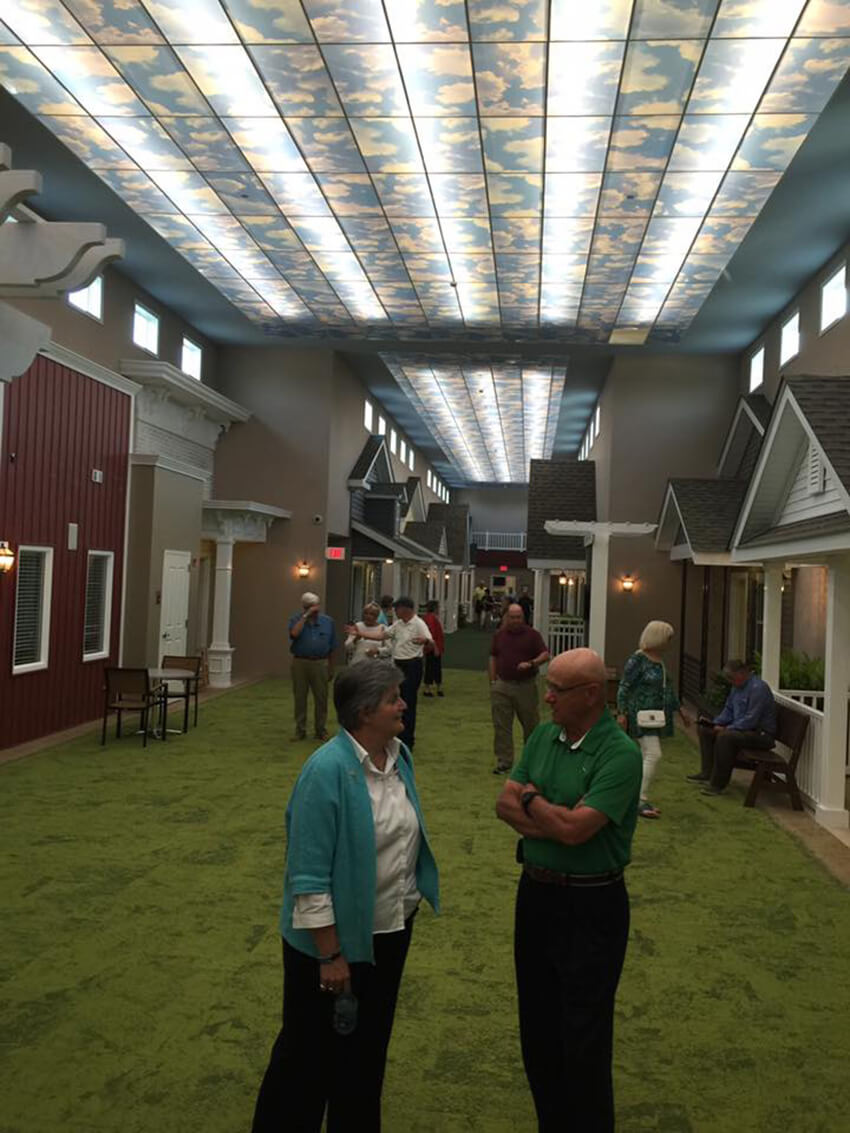 The controlled setting helps residents with Alzheimer's and dementia.