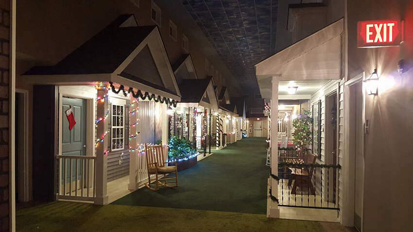 All the porches are decorated during the holidays.