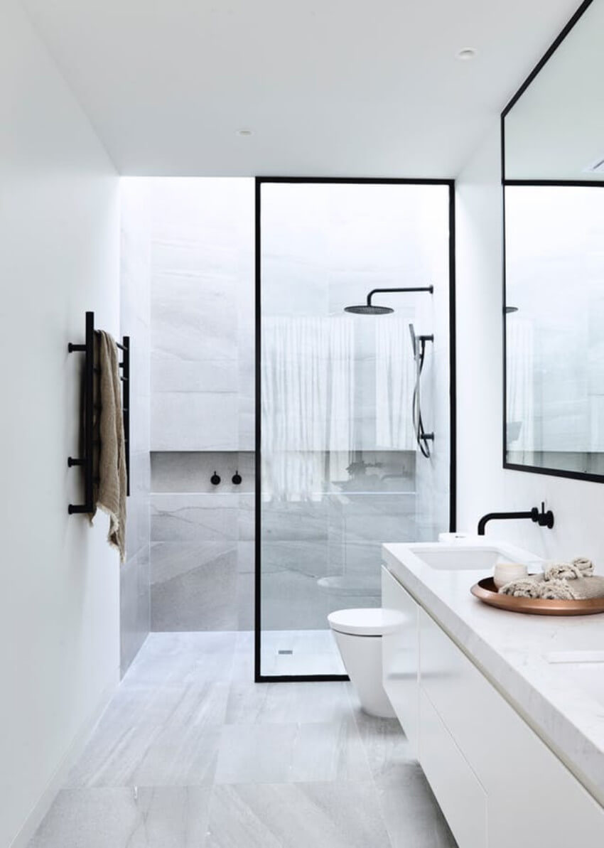 No doors are also a great idea for big bathrooms!