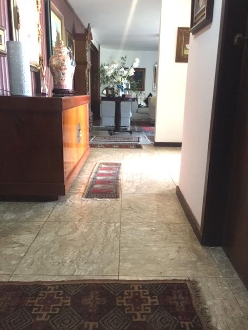 Marble flooring looks beautiful as floor covering for an entrance hall.