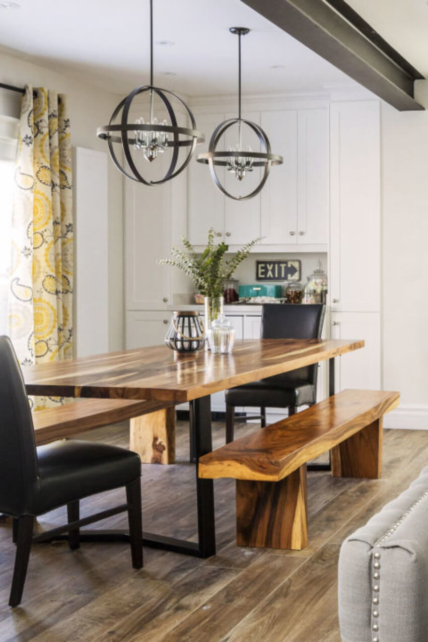A bench in your dining room will add a gorgeous farmhouse style!