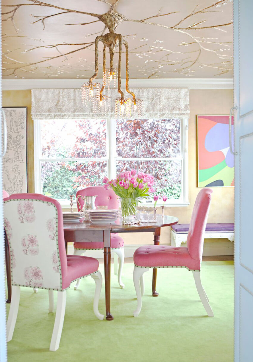 Pink and unique chairs can make the room look beautiful!