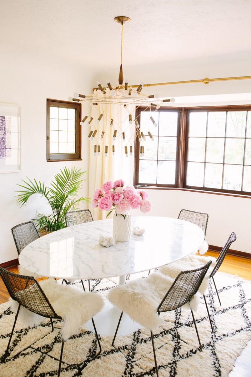 A simple or standout rug can be a great pick for your dining room!