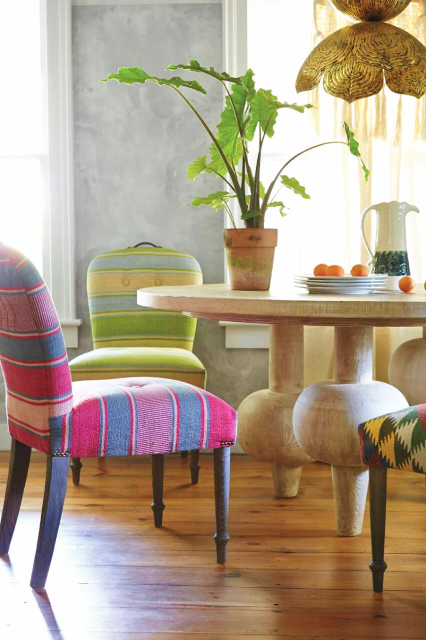 Mismatched chairs can bring a different style that will be unique!