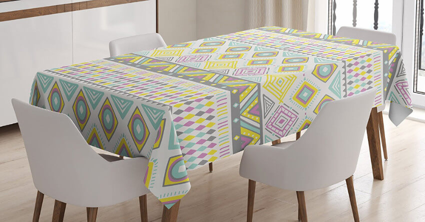 Tablecloths are simple and easy to change!