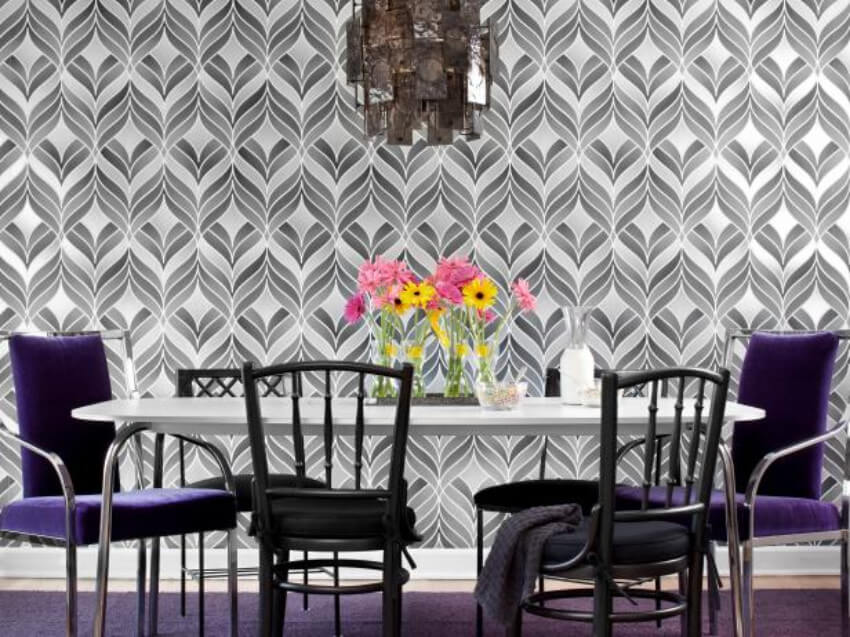 A patterned, gray wallpaper makes the room neutral and classy!