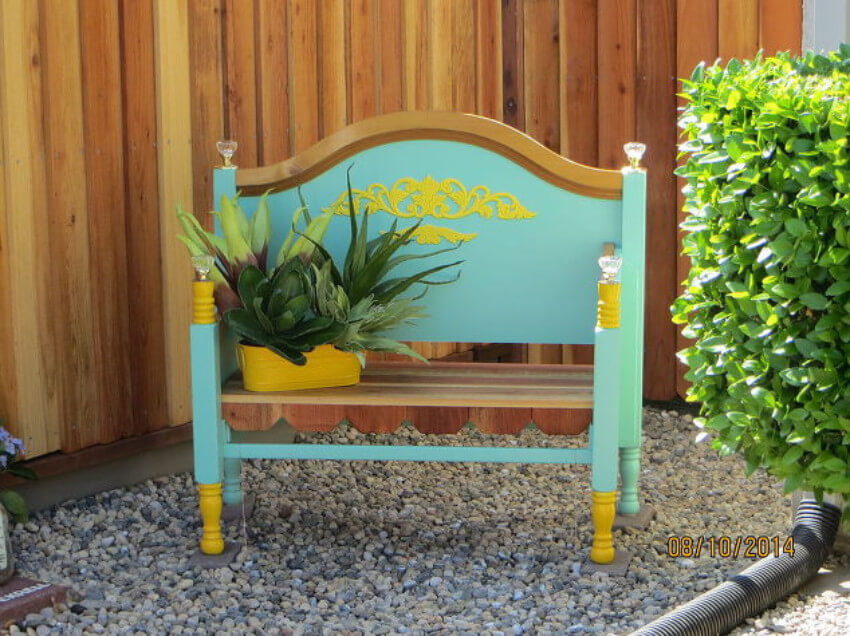 Make a lovely garden bench with an old bed frame!
