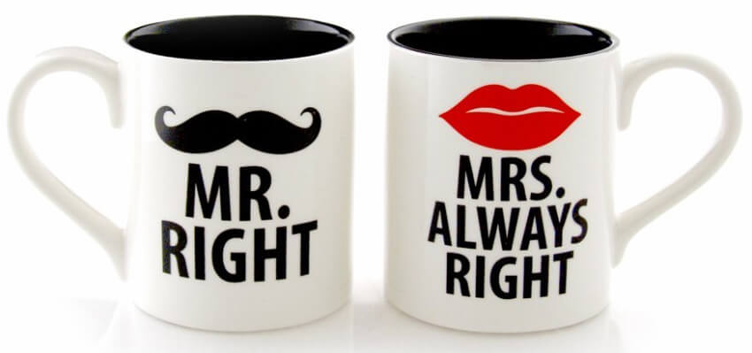 This his and hers coffee mug set is a fun gift for the couple hard to buy for
