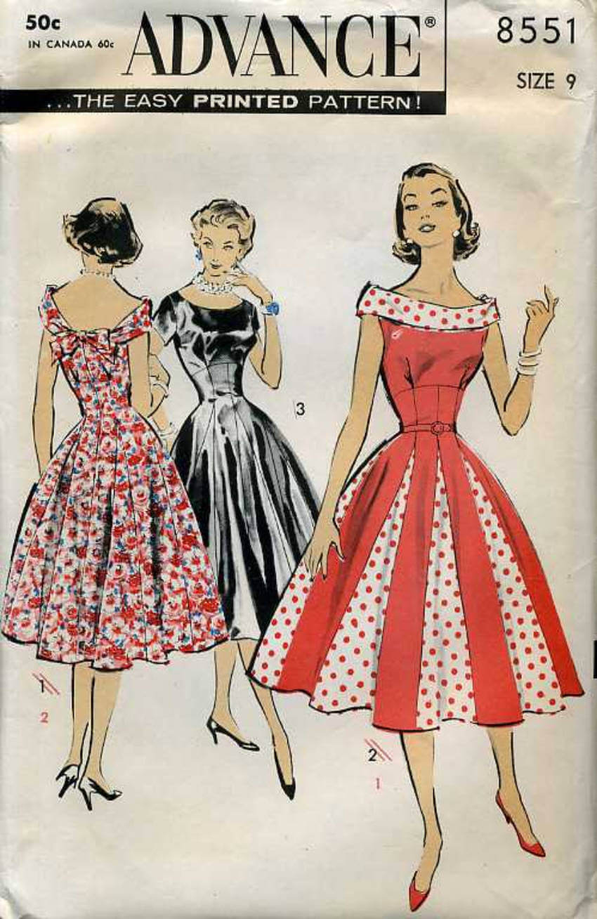 The '50s had a lot of different types of skirts!