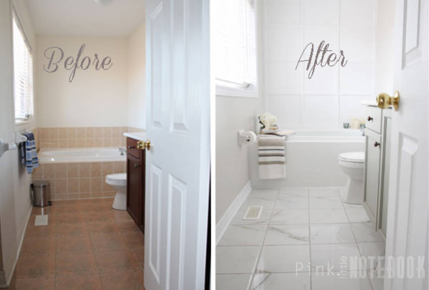 Painting over tiles is also a great option to makeover the bathroom walls!
