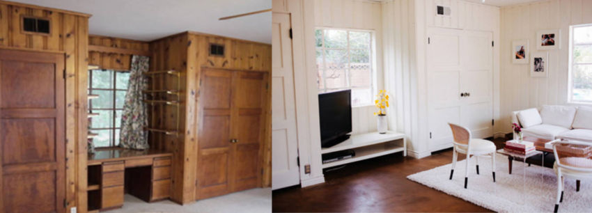 Wood panelings are no problem - with a creative choice of paint color you can makeover the living room!