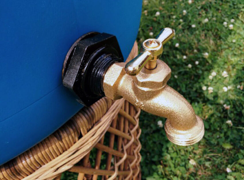 A rain barrel will collect water you can reuse later.