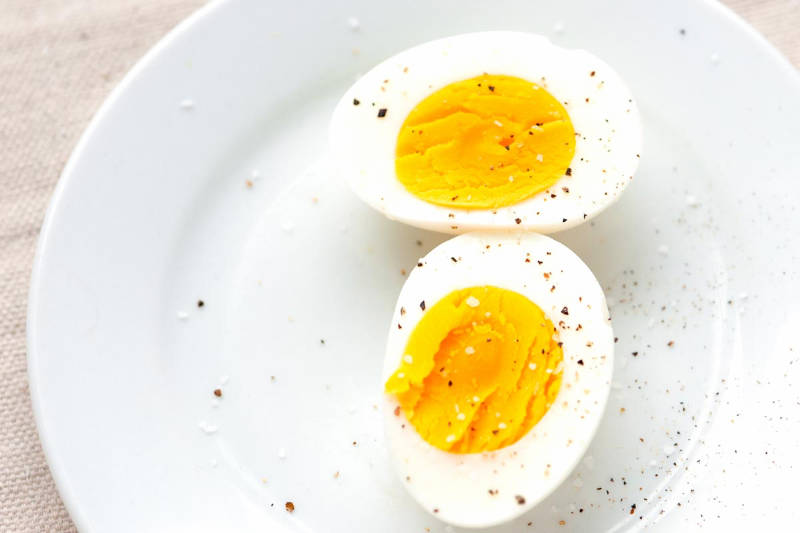 Hard boiled eggs are great for breakfast.