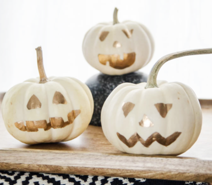Fake carved pumpkins that are perfect for fall and Halloween!
