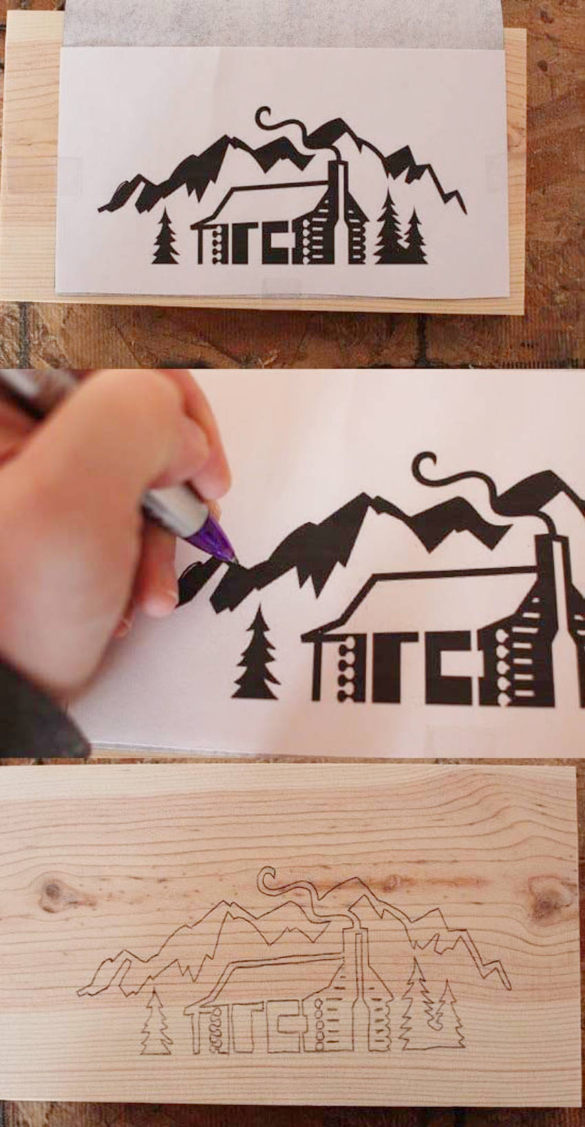 How to transfer the outlines onto the wood.