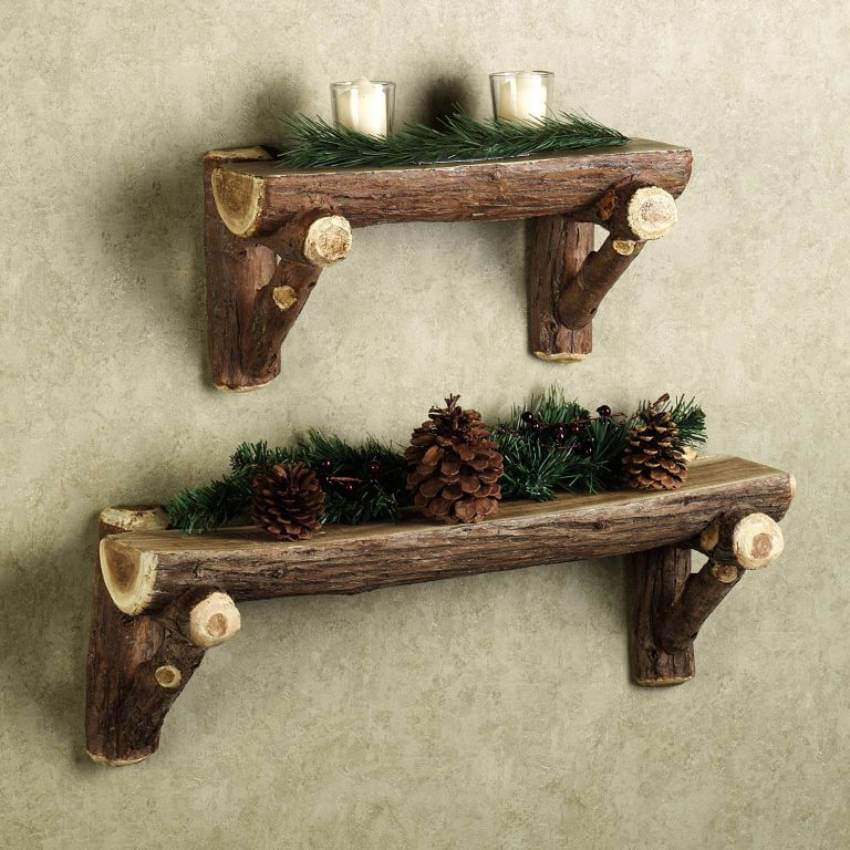 Wooden floating shelves decorated with pines!
