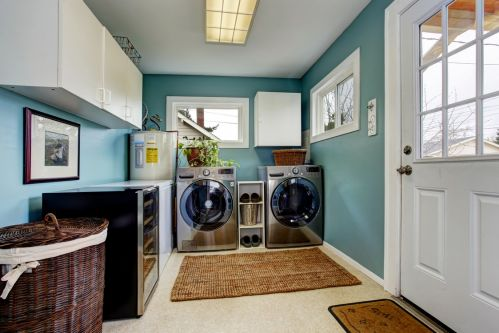 Cool blue and sleek new laundry setup