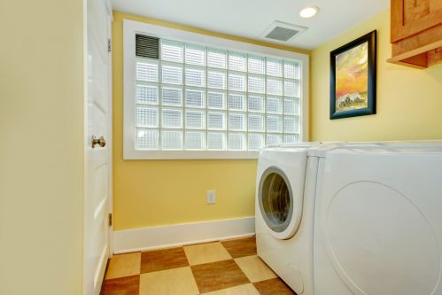 Glass square privacy windows in laundry room