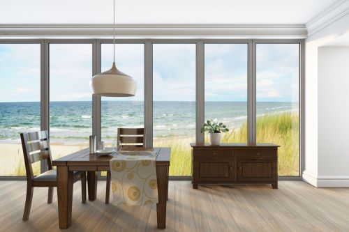 Oceanic Wide open View for a Simple Wooden Dining Room Set