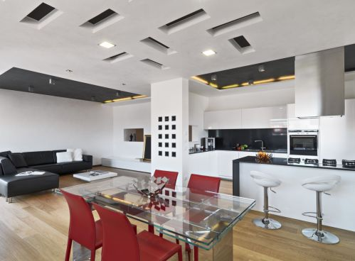 Completely Modern Kitchen Design with Glass Dining Table