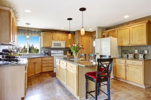 Beautiful Wooden Cabinets and Natural Stone Granite Countertops