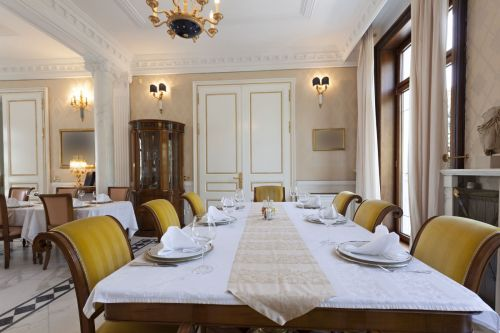 Ornate White and Yellow Dining Room Set