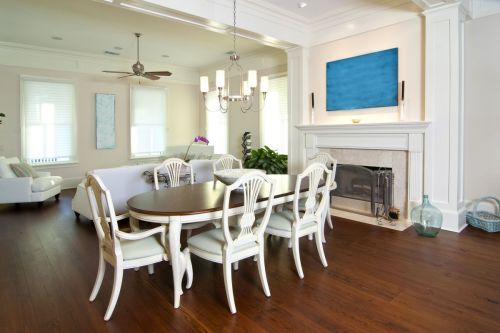 White on White Chair Dining Room with Hardwood Floors